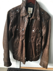 DIESEL Leather Jacket Brown