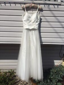 Formal grad or wedding dress, champagne color, approx size 4-6
