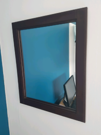Brown Faux Leather Framed Mirror