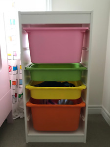 Storage combination with boxes, pink, orange,green and yellow