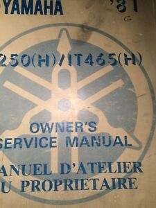 1981 Yamaha IT250H/IT465H Owners Service Manual