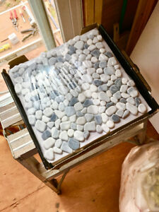 Gray & White real brook stone tiles