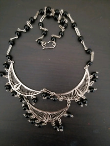 Egyptian made silver and onyx necklace