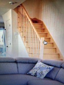 rampe escalier et de palier en chêne teint taraccota