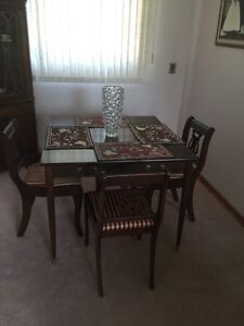 Small dining room table /Side table and four chairs Great cond