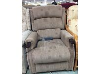 RISER RECLINER ELECTRIC DOUBLE MOROR ARM CHAIR (Brand new)Boxed -brown Fabric