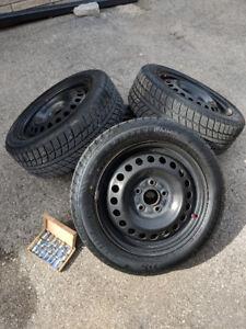 "5x114 16"" steel rims with winter tires, lug nuts & wheel locks"