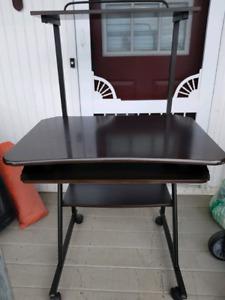Desk with keyboard tray on wheels