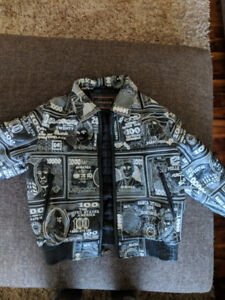 Vintage Leather Embroidered Money Jacket