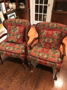 Gorgeous matching wing chairs.
