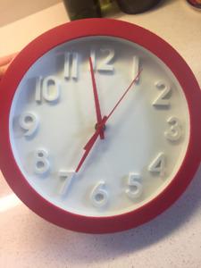Red & White Analog Clock