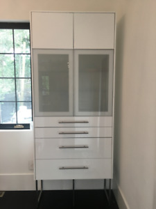 IKEA SEKTION Wall Cabinet with Glass Doors & 4 Drawers