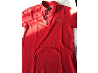 Red Lacoste polo in size 3 small