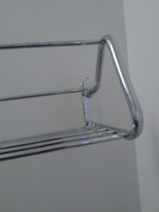 1 Chrome Railway-Style Towel Shelf and 1 New Towel Rod