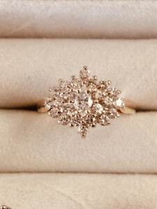 18K Gold Diamond Cluster Ring (quality diamonds)