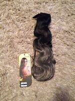 "18"" synthetic body wave clip ins black to grey ombre"