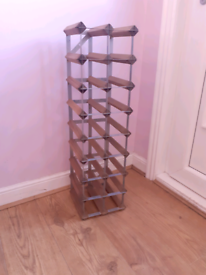 Tall Wood And Metal Wine Rack