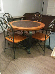 Great solid wood set with iron chairs ! Cornwall Ontario image 1