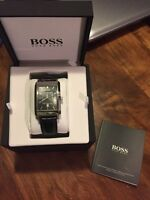 HUGO BOSS MEN'S BLACK LEATHER QUARTZ WATCH