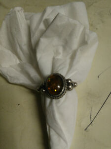 Vintage Sterling silver and amber ring size 8