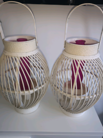 2 white lanterns for large candles