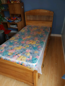 Twin bed. solid birch