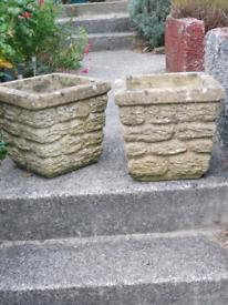 Pair of square stone planters