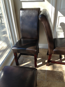 3 Faux Leather dining room high back chairs + bench