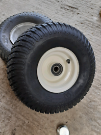 2no 15x6 Ride on lawnmower rims and tyres