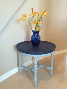 Paris Grey and Navy Blue Side Table - Beautiful Details.
