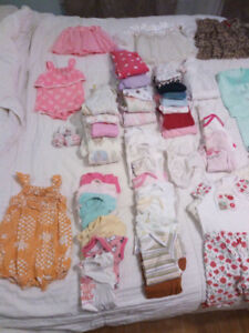 77 items of baby girl clothes. 0-3 months