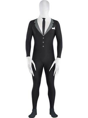 Adult Tuxedo Slenderman Slender Man Spandex Full Body Zip Up Bodysuit - Slenderman Kostüm