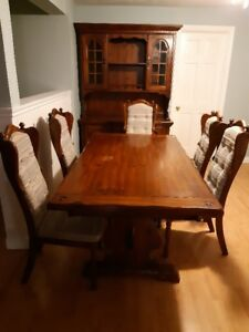 Dining Room Table, Chairs & Hutch & Other
