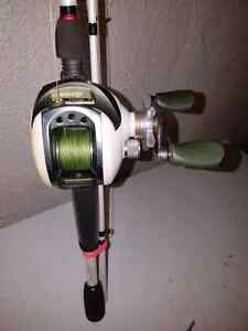 Okuma V system 200 10 bearing.with quantum accurist bait caster.