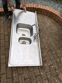 Large double metal sink