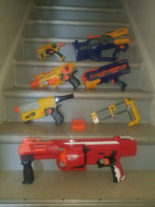 8-piece lot of Nerf Guns and pieces- zombie survival kit