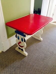 "Old Vintage Child's Table With Clowns. 29.5"" x 18.5"""