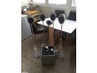 4x 'KEF' Speaker with Stand AND Centre Speaker PLUS Subwoofer
