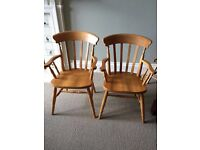 2 solid wood dining chairs
