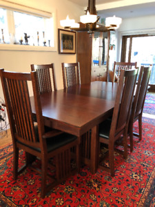 Solid Oak Mission Dining Room Table, Chairs and Hutch