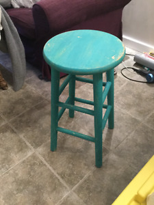 4 Solid Wood Teal Stools Shabby Chic