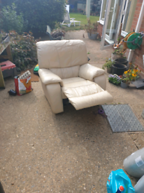 Cream leather reclining chair Free