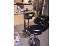 3x Bar Stools 1x bar glass table with chrome legs