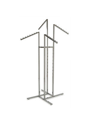 4 Way Rack With 4 Slant Arms Garment Display Rack Chrome - R15