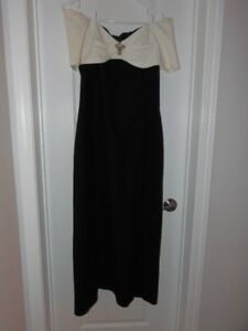 EUC Long Black with White top Evening Gown