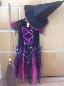 Halloween witch dress age 7-8 hat & broom