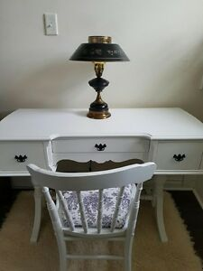 Antique Painted White Desk & Re-upholstered Chair $300.00 Firm