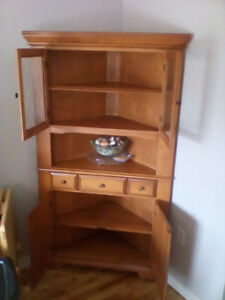 Solid wood dining room table and chairs/corner cabinet