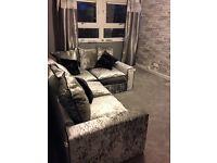 Silver & Black Crushed Velvet corner sofa
