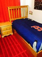Hardwood Maple Bed mattress and Night stand, Barbie condo